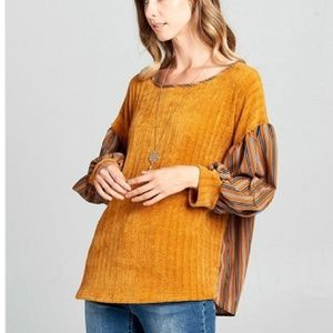 Tops - Velour top with vertical striped bell sleeves, NWT